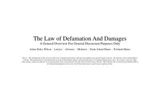 Adam Daley Wilson:  Overview of Defamation and Damages