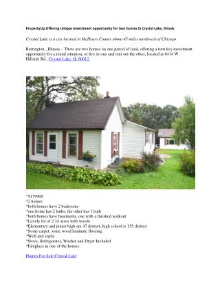 PropertyUp Offering Unique investment opportunity for two homes in Crystal Lake, Illinois