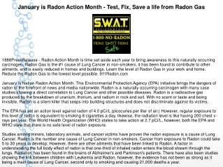 January is Radon Action Month - Test, Fix, Save a life from Radon Gas