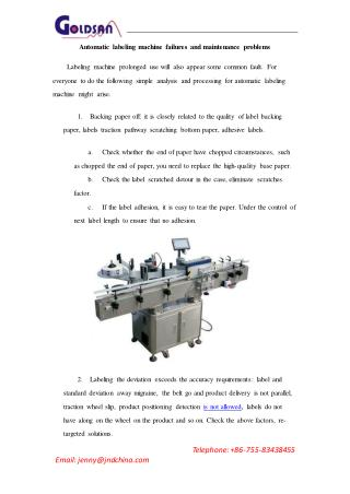 Automatic Labeling Machine Failures and Maintenance Problems