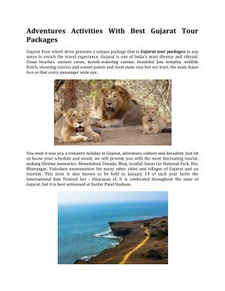 Adventures Activities With Best Gujarat Tour Packages