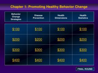 Chapter 1: Promoting Healthy Behavior Change