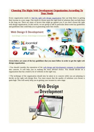 Choosing The Right Web Development Organization According To Your Needs