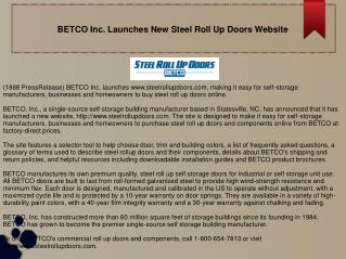 BETCO Inc. Launches New Steel Roll Up Doors Website