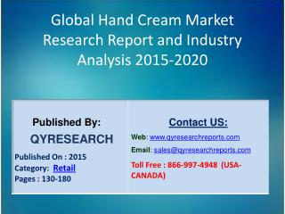Global Hand Cream Consumption Market 2015 Industry Analysis, Research, Trends, Growth and Forecasts