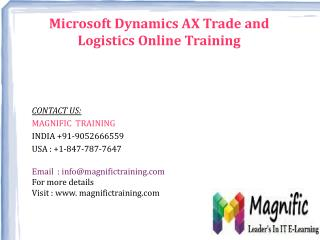 Microsoft Dynamics AX Trade And Logistics Online Training in Canada|Dubai