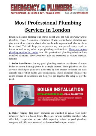 Most Professional Plumbing Services in London