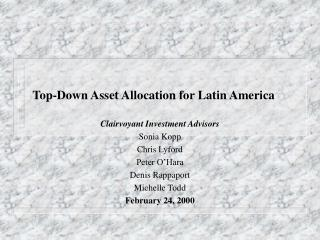 Top-Down Asset Allocation for Latin America