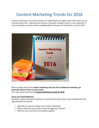 Content Marketing Trends for 2016