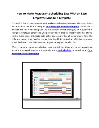 How to Make Restaurant Scheduling Easy With an Excel Employee Schedule Template