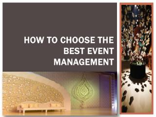 How to Choose the Best Event Management
