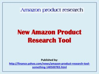 New Amazon Product Research Tool