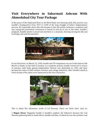 Visit Everywhere in Sabarmati Ashram With Ahmedabad City Tour Package