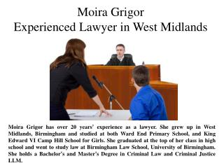 Moira Grigor-Experienced Lawyer in West Midlands