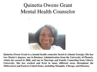 Quinetta Owens Grant-Mental Health Counselor