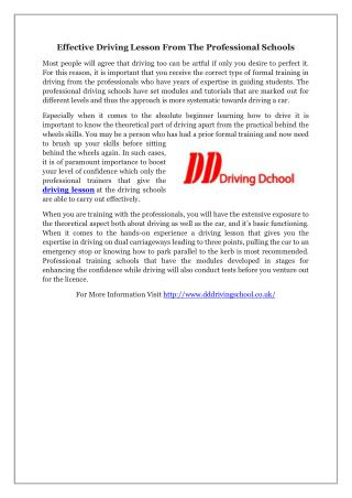 Effective Driving Lesson From The Professional Schools