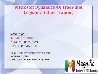 Microsoft Dynamics Ax Trade And Logistics Online Training in Malaysia