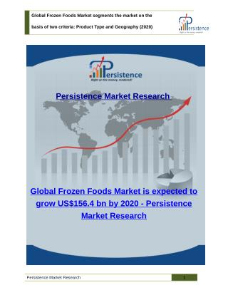 Global Frozen Foods Market : Size, Share, Trend, Analysis to 2020