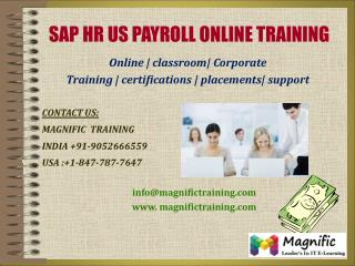 SAP HR US PAYROLL ONLINE TRAINING IN USA|UK|CANADA