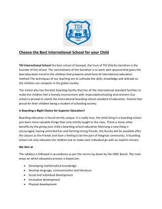 Best international School in Haryana- tdiinternationalschool.com