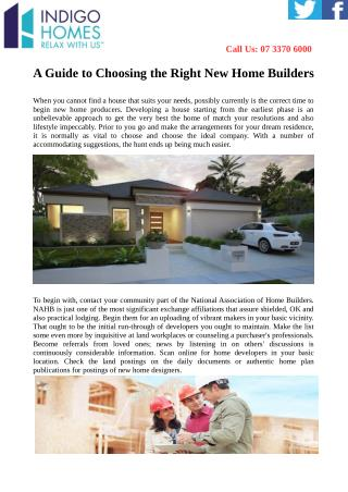 A Guide to Choosing the Right New Home Builders