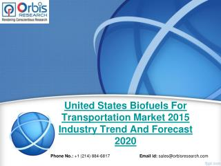2015 United States Biofuels For Transportation Market Key Manufacturers Analysis
