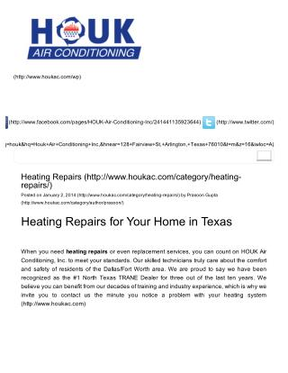 Heating Repairs for Your Home in Texas