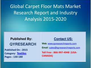 Global Carpet Floor Mats Market 2015 Industry Applications, Study, Development, Growth, Outlook, Insights and Overview