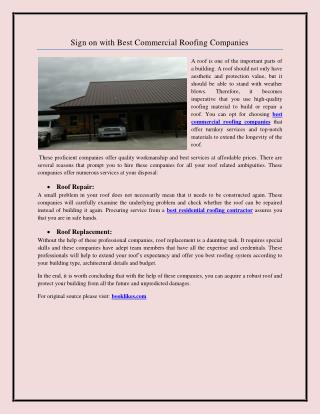 Sign on with Best Commercial Roofing Companies