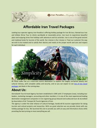 Affordable Iran Travel Packages