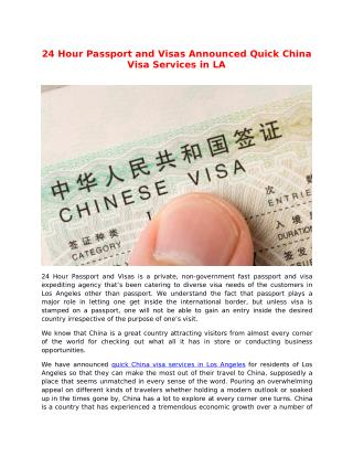 24 Hour Passport And Visas Announced Quick China Visa Services in Los Angeles