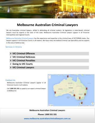 Melbourne Australian Criminal Lawyers