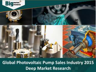 Global Photovoltaic Pump Sales Industry 2015, trends, Share, Forecast and Opportunities - Big Market Research