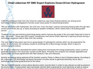 Chad Lieberman NY SMO Expert Explores Ocean-Driven Hydropower