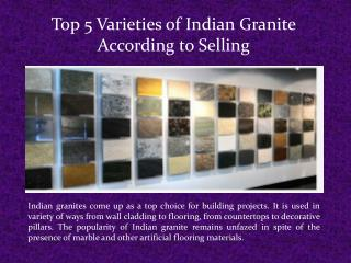 Top 5 Varieties of Indian Granite According to Selling