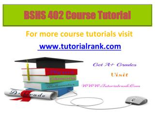 BSHS 402 Potential Instructors / tutorialrank.com