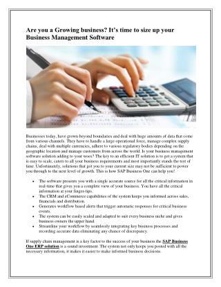 Are You a Growing business? It's time to size up your Business Management Software