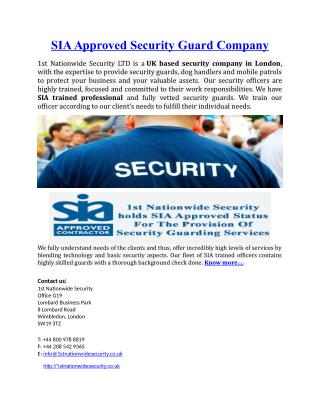 SIA Approved Security Guard Company