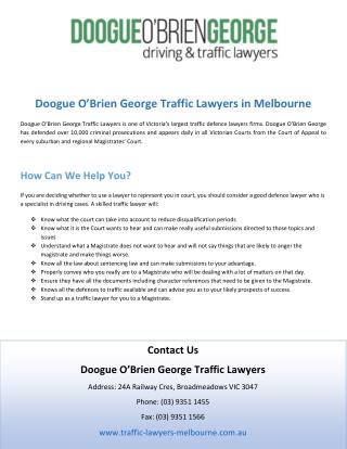 Doogue O�Brien George Traffic Lawyers in Melbourne