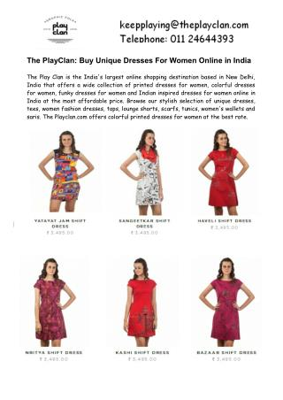 The PlayClan- Buy Unique Dresses For Women Online in India