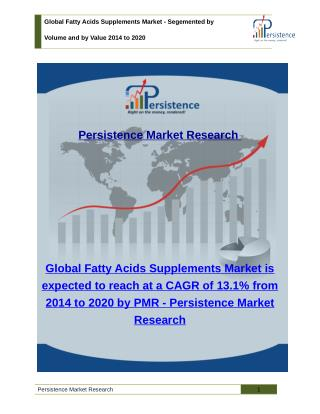 Global Fatty Acids Supplements Market - Size, Share, Trends Analysis to 2020