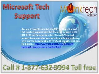 Microsoft Tech Support number 1-877-632-9994 Toll free