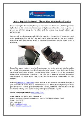 Laptop Repair Lake Worth - Always Hire A Professional Service