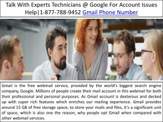 Toll Free Gmail Phone Number 1-877-788-9452 Contact Gmail