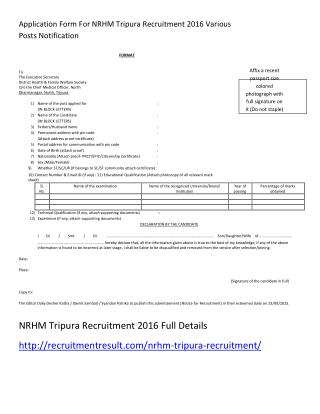 Application Form for NRHM Tripura Recruitment 2016 Various Posts Notification