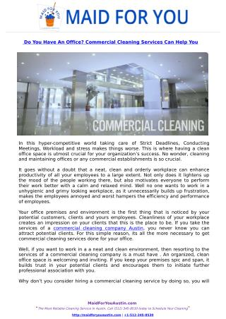 Do You Have An Office? Commercial Cleaning Services Can Help You