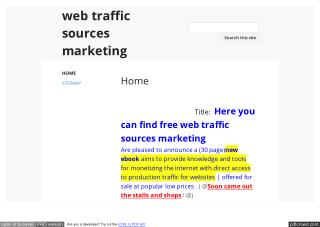 Here you can find free web traffic sources marketing
