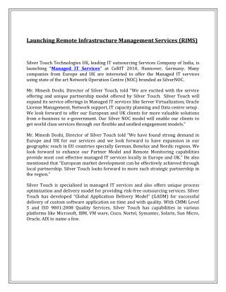 Launching Remote Infrastructure Management Services (RIMS)