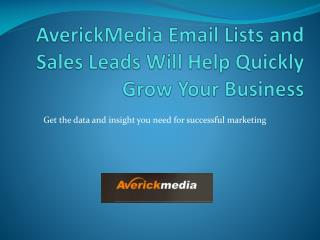 AverickMedia Email Lists and Sales Leads Will Help Quickly Grow Your Business