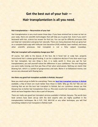 Best hair transplant in Rohtak